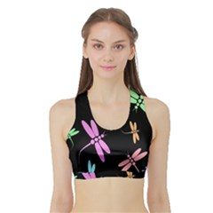 Pastel dragonflies Sports Bra with Border