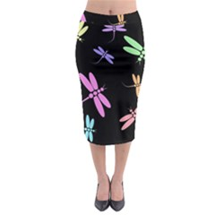Pastel Dragonflies Midi Pencil Skirt