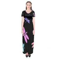 Pastel dragonflies Short Sleeve Maxi Dress