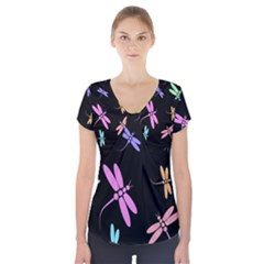 Pastel dragonflies Short Sleeve Front Detail Top
