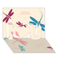 Pastel dragonflies  I Love You 3D Greeting Card (7x5)