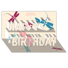 Pastel dragonflies  Happy Birthday 3D Greeting Card (8x4)