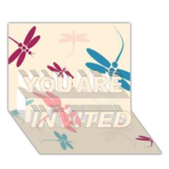 Pastel dragonflies  YOU ARE INVITED 3D Greeting Card (7x5)