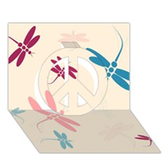 Pastel dragonflies  Peace Sign 3D Greeting Card (7x5)