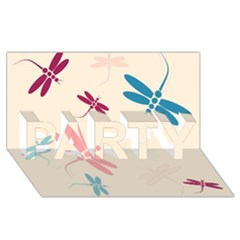 Pastel dragonflies  PARTY 3D Greeting Card (8x4)