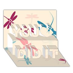Pastel dragonflies  You Did It 3D Greeting Card (7x5)