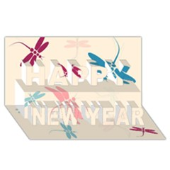 Pastel dragonflies  Happy New Year 3D Greeting Card (8x4)