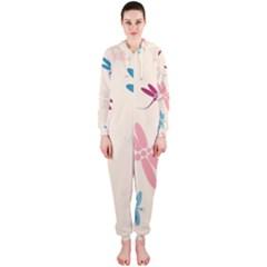 Pastel dragonflies  Hooded Jumpsuit (Ladies)