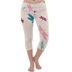 Pastel dragonflies  Capri Yoga Leggings