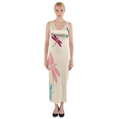 Pastel Dragonflies  Fitted Maxi Dress