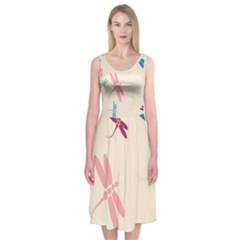Pastel dragonflies  Midi Sleeveless Dress