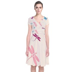 Pastel dragonflies  Short Sleeve Front Wrap Dress