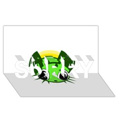 Transparent firefly SORRY 3D Greeting Card (8x4)