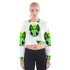Transparent firefly Women s Cropped Sweatshirt