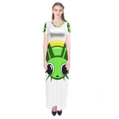 Transparent firefly Short Sleeve Maxi Dress