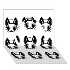 Black And White Fireflies Patten Circle 3d Greeting Card (7x5)