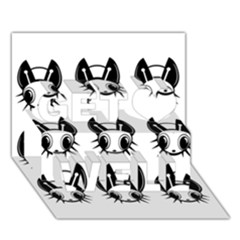 Black and white fireflies patten Get Well 3D Greeting Card (7x5)