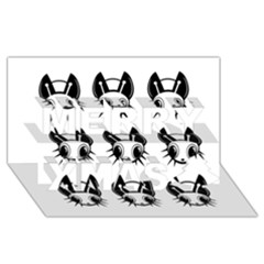 Black and white fireflies patten Merry Xmas 3D Greeting Card (8x4)