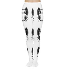 Black and white fireflies patten Women s Tights