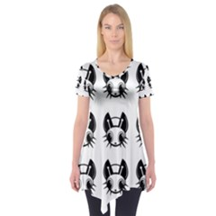 Black and white fireflies patten Short Sleeve Tunic