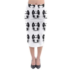Black And White Fireflies Patten Midi Pencil Skirt