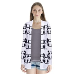 Black and white fireflies patten Drape Collar Cardigan