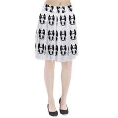 Black and white fireflies patten Pleated Mesh Skirt