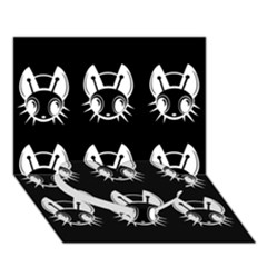 White and black fireflies  Heart Bottom 3D Greeting Card (7x5)