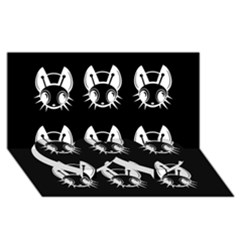 White and black fireflies  Twin Heart Bottom 3D Greeting Card (8x4)