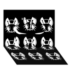 White and black fireflies  Clover 3D Greeting Card (7x5)