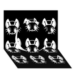 White and black fireflies  Circle 3D Greeting Card (7x5)