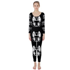 White and black fireflies  Long Sleeve Catsuit