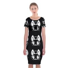 White And Black Fireflies  Classic Short Sleeve Midi Dress