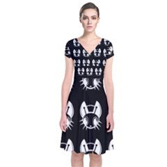 White and black fireflies  Short Sleeve Front Wrap Dress