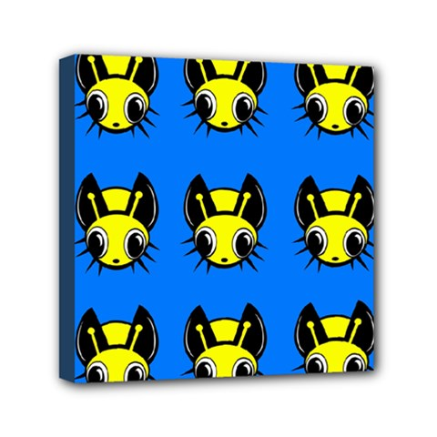Yellow and blue firefies Mini Canvas 6  x 6