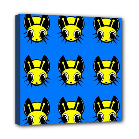 Yellow and blue firefies Mini Canvas 8  x 8