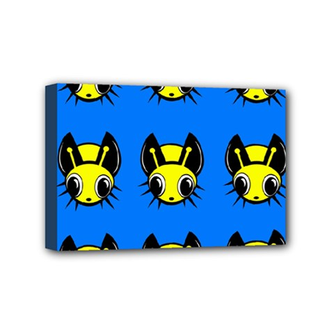 Yellow and blue firefies Mini Canvas 6  x 4