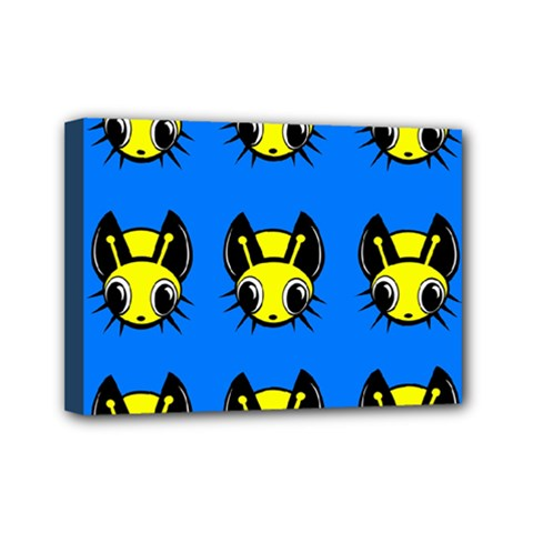 Yellow and blue firefies Mini Canvas 7  x 5
