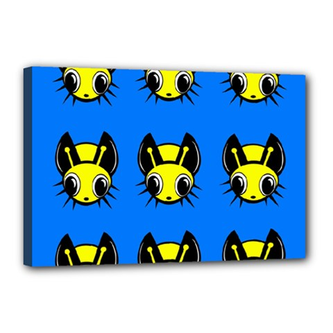 Yellow and blue firefies Canvas 18  x 12