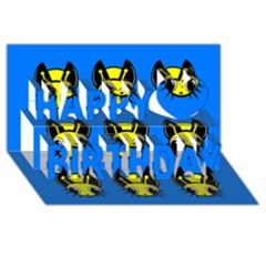 Yellow and blue firefies Happy Birthday 3D Greeting Card (8x4)