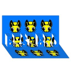 Yellow and blue firefies BEST BRO 3D Greeting Card (8x4)