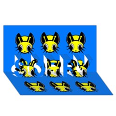 Yellow and blue firefies SORRY 3D Greeting Card (8x4)