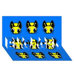 Yellow and blue firefies ENGAGED 3D Greeting Card (8x4)