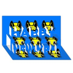 Yellow and blue firefies Happy New Year 3D Greeting Card (8x4)