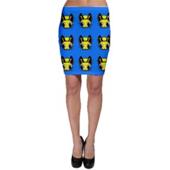 Yellow and blue firefies Bodycon Skirt