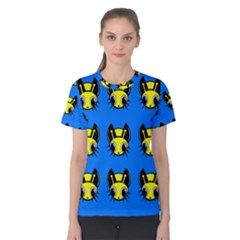 Yellow and blue firefies Women s Cotton Tee