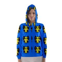 Yellow and blue firefies Hooded Wind Breaker (Women)