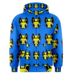 Yellow and blue firefies Men s Zipper Hoodie