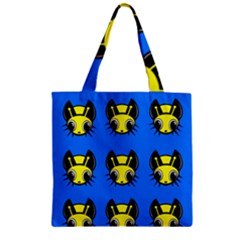Yellow and blue firefies Zipper Grocery Tote Bag