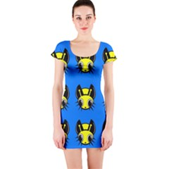 Yellow and blue firefies Short Sleeve Bodycon Dress